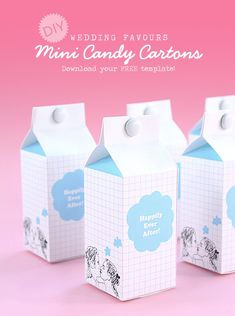 DIY Wedding Favours: Mini Candy Cartons. Free Template
