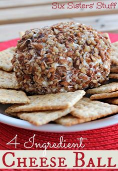This 4 Ingredient Cheese Ball is the easiest appetizer to bring to your next party from sixsistersstuff.com #sixsistersstuff