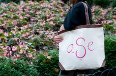 Leather accent tote bag