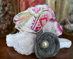 Paisley Print flower with White Lace and by AmberlinaDesignShop