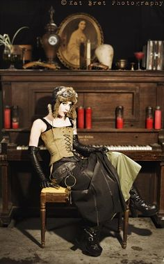 costum, steampunk fashion, piano, steampunk style, outfit