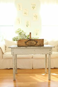 French Larkspur: A little Spring Magic   honey-colored floors, white everything else