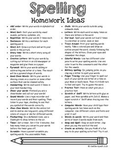 FREE Spelling Homework Ideas( or use for Word Work/Spelling Center)