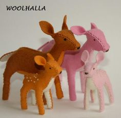 """Wool Felt Toy- Brown Deer Mama and Fawn Reserved for """"mozymoo"""". $39.95, via Etsy."""