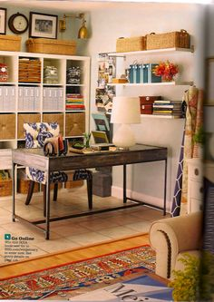 office spaces, floating shelves, office designs, organized office, desk, home offices, office crafts, workspac, craft rooms