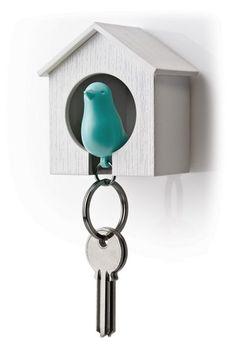 Sleutelhanger vogelkooitje Wit-turquoise - Qualy