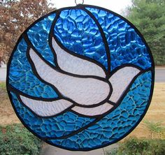 Stained glass white dove