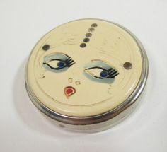 Vintage Silver Art Deco Compact Cute Kewpie Flapper Style Face Lid Rhinestones