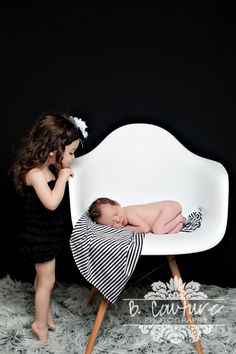 Newborn Baby Boy Sibling Pose, Black and White Modern {B Couture Photography}