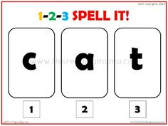 literaci, game 123, shorts, vowel spell, spelling games, spell game, 123 spell, short vowel, read mama