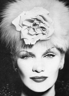 Sunny Harnett wearing a Balenciaga fox fur hat. Photographed by Richard Avedon in Paris, August 1954.
