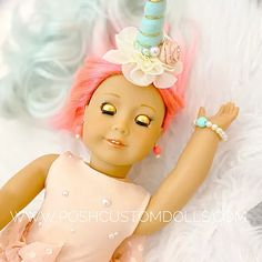 READY TO SHIP! Peppermint Peach Pearl! American Girl Custom Unicorn Doll Shop | Posh Custom Dolls