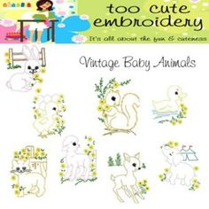 vintage baby animals by too cute embroidery