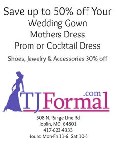 TJ Formal is an authorized retailer for the designers we carry. Shop online or in our Joplin, MO store and get up to 50% off your dress, shoes and accessories. http://www.tjformal.com/