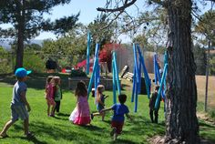 Make a noodle Forest: would have to do a smaller version at home, or set one up at the park for a play day.