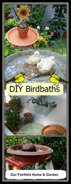 bird baths, diy birdbath, garden