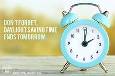 "#DaylightSaving ends, set clocks back 1hr. Use that hour to read our short pub ""A Snapshot"" www.socialsecurity.gov/pubs/EN-05-10006.pdf"