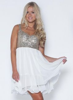 White Sequin Dress - White Skater Dress with Sequin | UsTrendy