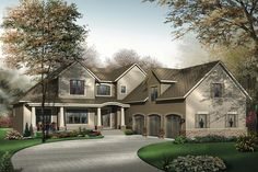 Traditional home plan with craftsman touches and modern circulation.  Plan 23-537