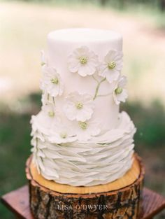 Beautiful Woodland Themed White Wedding Cake