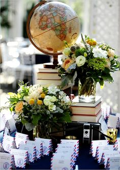 @Jenelle Koeplin: I think that, if you and Ben do get married, that incorporating maps/traveling details would be super cute since its been all (mostly) long distance. travel theme, vintage books, centerpiec, escort cards, place cards, theme wedding, themed weddings, travel wedding, globe