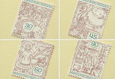 Stamp design for hungarian folk tales by Boglárka Nádi, via Behance