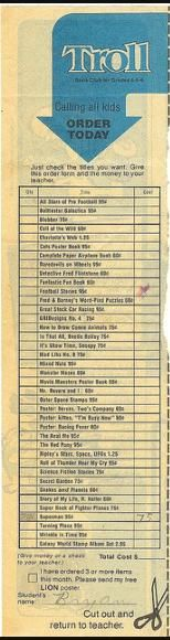 Old school Scholastic Book club order form, holy cats I used to check off everything LOL  Remember ordering Banana magazine?