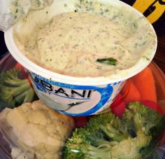 """Guilt Free Dip ~ """"Mixing your ranch seasoning in Chobani Yogurt gives you protein and is around 20 calories for 2 tbs"""
