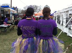 Glue beads on to tshirts to create words or designs. These girls wore these cute beaded tshirts for a Mardi Gras themed run.