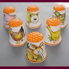 Porcelain Thimbles Farm Animals, set of 6 thimbles