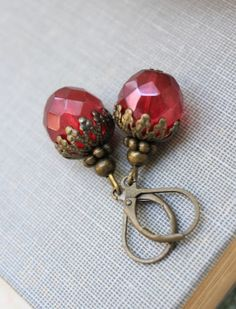 Dark Red Cranberry Glass Dangle Earrings Beaded by apocketofposies, $21.00