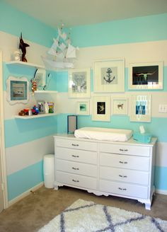 Turquoise Striped Nursery with Nautical Accents