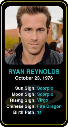 Celeb #Scorpio birthdays: Ryan Reynold's   astrology info! Sign up here to see more:  https://www.astroconnects.com/galleries/celeb-birthday-gallery/scorpio   #astrology #horoscope #zodiac #birthchart #natalchart #ryanreynolds