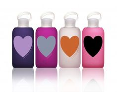 Heartbkr: Perfect for your fittest, green-minded friends and significant others. 500ml glass water bottle with a silicone sleeve, gasket, and food grade polypropylene cap. FDA approved, BPA-free, BPA replacement free, phthalate free. Fits most cup holders, doesn't leak, lightweight, 100% reusable and recyclable! Thanks to @Elizabeth Silbermann! #Water_Bottle #Heart #Bkr