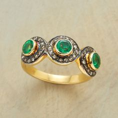 EMERALD DELIGHT RING--A green emerald delight ring, with the bright green emeralds gazing out from within pavé-set diamond borders. Sundance exclusive in 14kt goldplated sterling silver. Whole sizes 5 to 9.