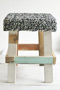 taburete de madera reciclada... www.almacen5.es