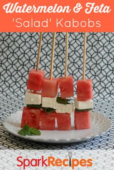 These summer kabobs are fun and easy to make--and super delicious. Perfect for your next summer cookout! | via @SparkPeople #food #recipe #salad #watermelon #stick #appetizer #party