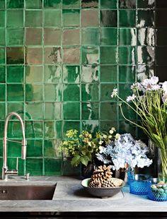 green tile, interior, tile design, green kitchen, bathroom