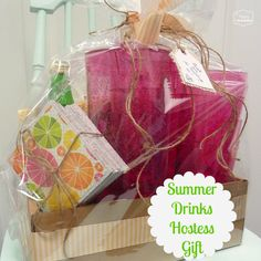 Summer Drinks Hostess Gift idea with DIY cork coasters at thehappyhousie