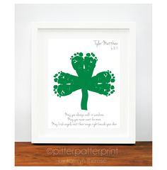 St Patricks Day Baby Footprint Shamrock - Irish Blessing for Baby - Personalized Ireland Art Print - Green St Patricks Day Decoration