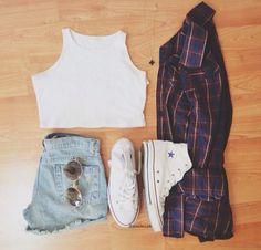 jean shorts, hipster fashion, cloth, style, crop tops, high waisted shorts, summer outfits, plaid shirts, denim shorts