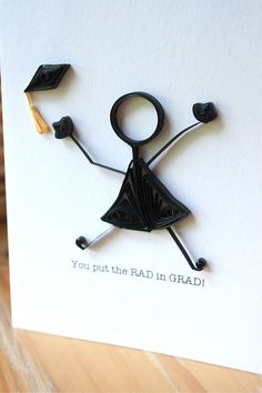Quilled Graduation Card - Stick Figure - Unique Greeting Card