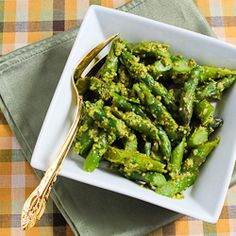 Kalyns Kitchen®: Easy Recipe for Barely-Cooked Asparagus with Basil Pesto  [#SouthBeachDiet friendly from Kalyn's Kitchen]