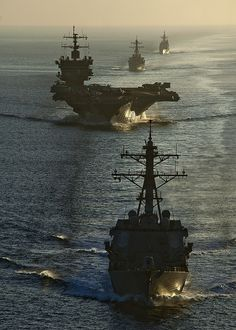 U.S. Navy ships underway together. by Official U.S. Navy Imagery
