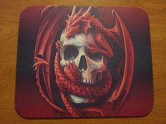 FREE shipping!  Skull Mouse Pad - Red Dragon Skull