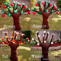 "4 Seasons Apple Tree, XXL Tree 36"" tall, all pickable fruits and leaves to change Season Totally need to make this for the playroom and make fruit for it too!"