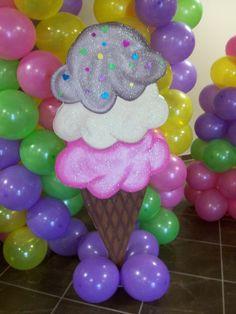 Rainbow Balloons at an Ice Cream Party #balloon #icecream