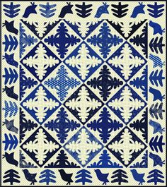 Indigo and white quilt found on INSPIRED BY ANTIQUE QUILTS blog white quilt, quilt patterns, blue, antique quilts, antiqu quilt