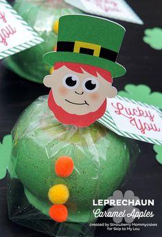 Leprechaun Caramel Apples by Strawberry Mommycakes for www.skiptomylou.org #stpattysday #printables #freeprintables