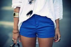blue shorts & white top